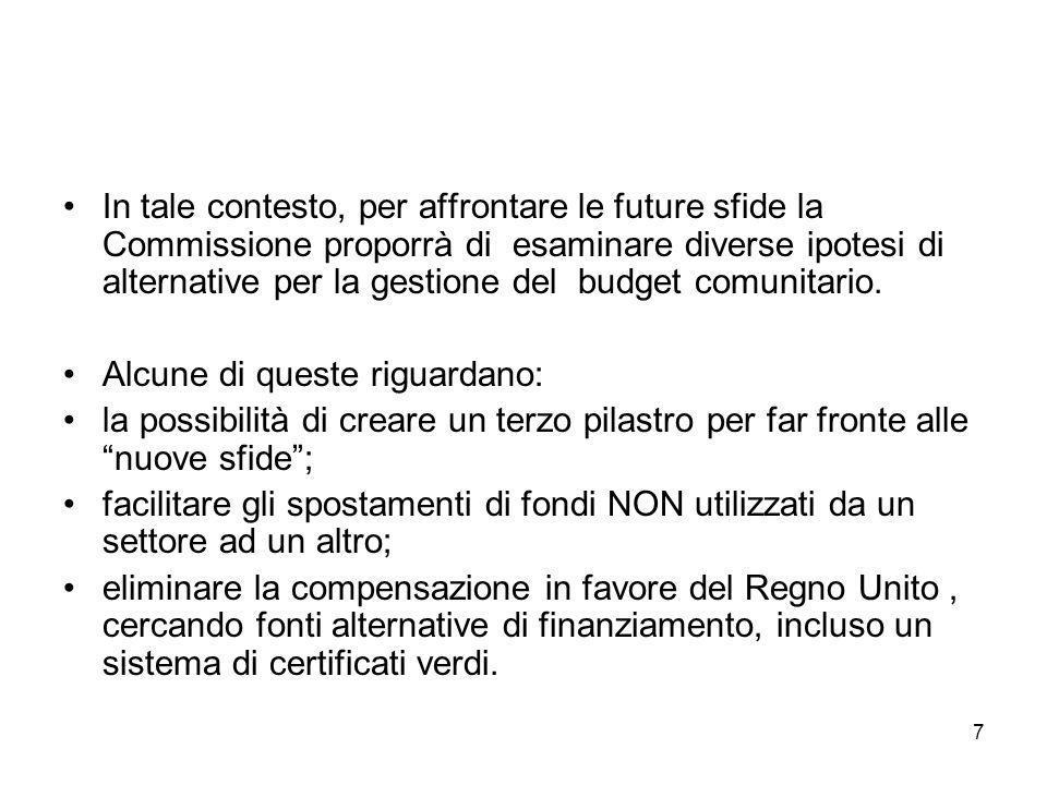 7 In tale contesto, per affrontare le future sfide la Commissione proporrà di esaminare diverse ipotesi di alternative per la gestione del budget comunitario.