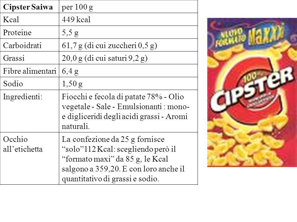 Cipster Saiwaper 100 g Kcal449 kcal Proteine5,5 g Carboidrati61,7 g (di cui zuccheri 0,5 g) Grassi20,0 g (di cui saturi 9,2 g) Fibre alimentari6,4 g Sodio1,50 g Ingredienti:Fiocchi e fecola di patate 78% - Olio vegetale - Sale - Emulsionanti : mono- e digliceridi degli acidi grassi - Aromi naturali.