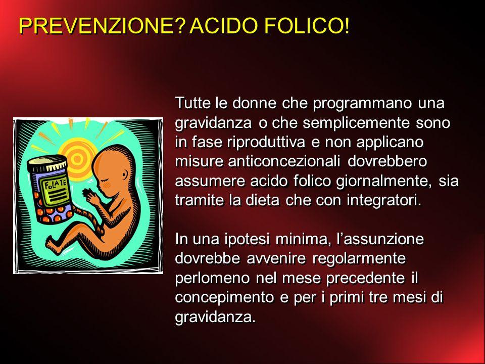 PREVENZIONE? ACIDO FOLICO! acido folico giornalmente Tutte le donne che programmano una gravidanza o che semplicemente sono in fase riproduttiva e non
