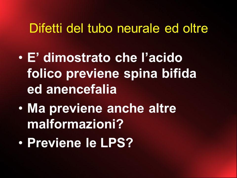 Difetti del tubo neurale ed oltre E dimostrato che lacido folico previene spina bifida ed anencefalia Ma previene anche altre malformazioni? Previene