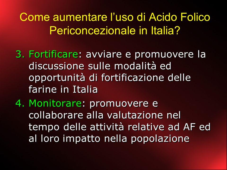 Come aumentare luso di Acido Folico Periconcezionale in Italia? 3.Fortificare: avviare e promuovere la discussione sulle modalità ed opportunità di fo