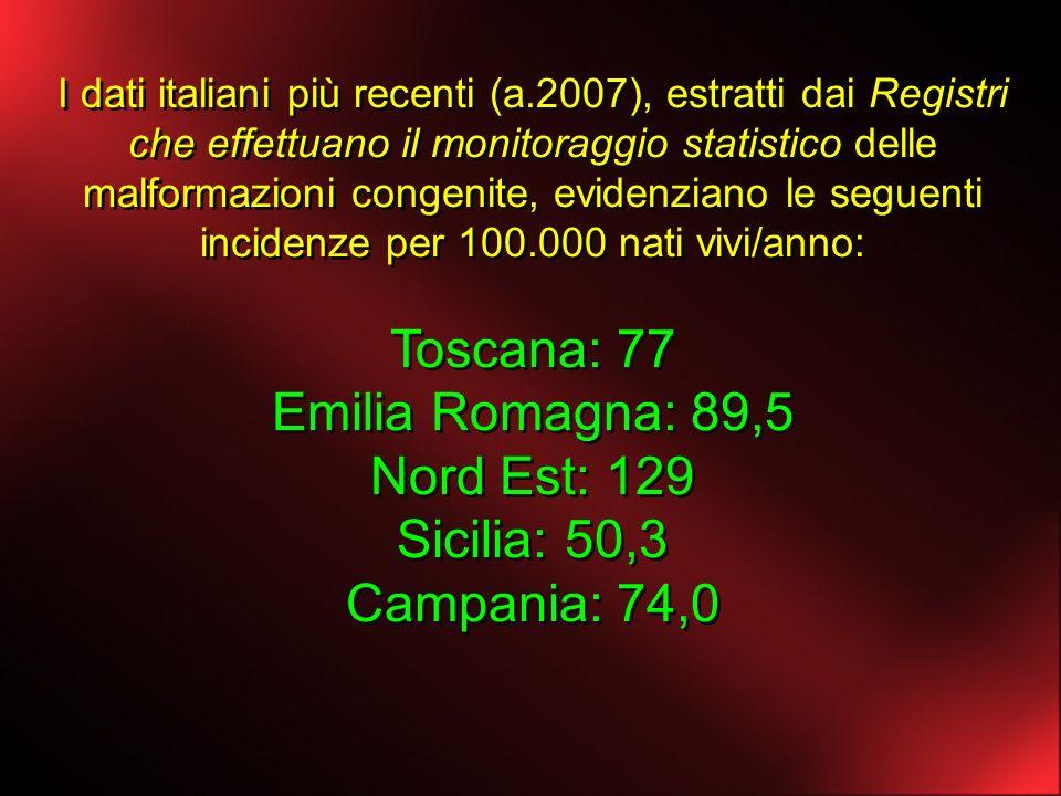 I dati italiani più recenti (a.2007), estratti dai Registri che effettuano il monitoraggio statistico delle malformazioni congenite, evidenziano le se
