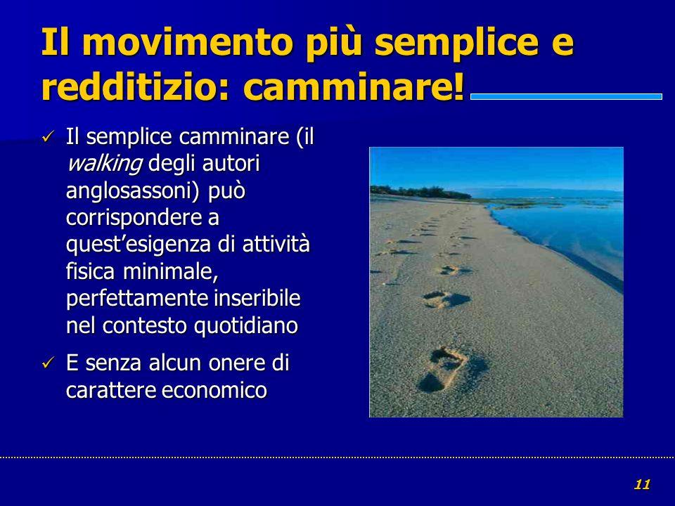 11 Il movimento più semplice e redditizio: camminare! Il semplice camminare (il walking degli autori anglosassoni) può corrispondere a questesigenza d