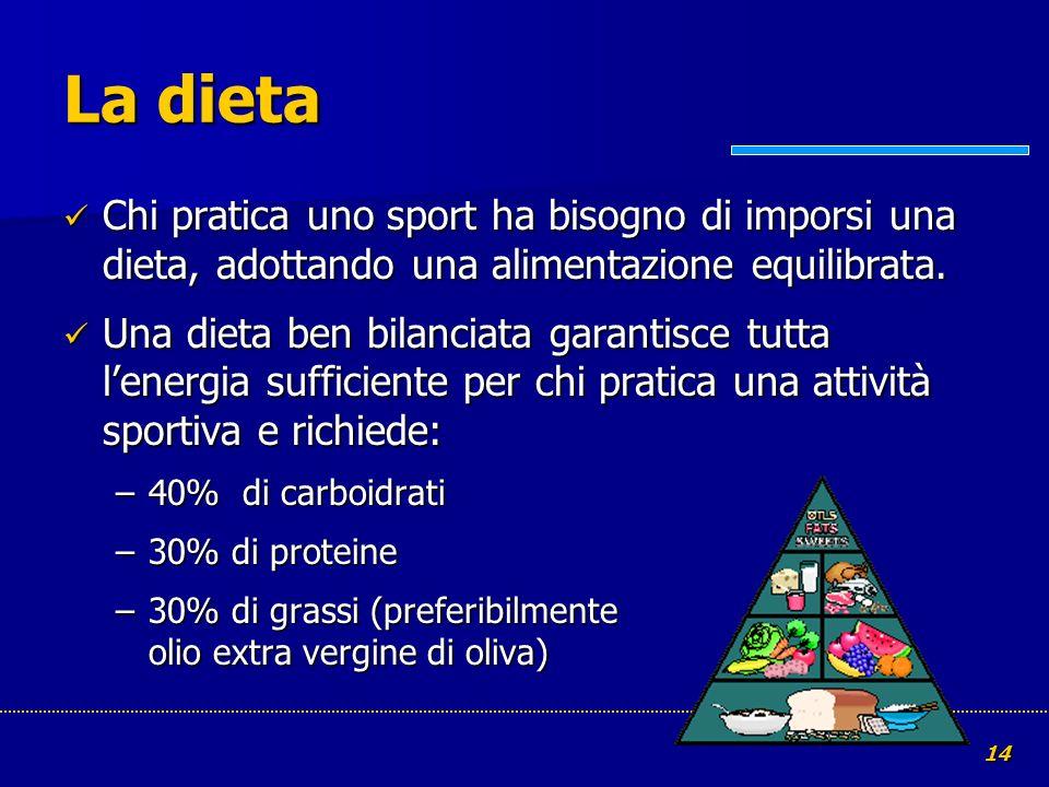14 La dieta Chi pratica uno sport ha bisogno di imporsi una dieta, adottando una alimentazione equilibrata. Chi pratica uno sport ha bisogno di impors