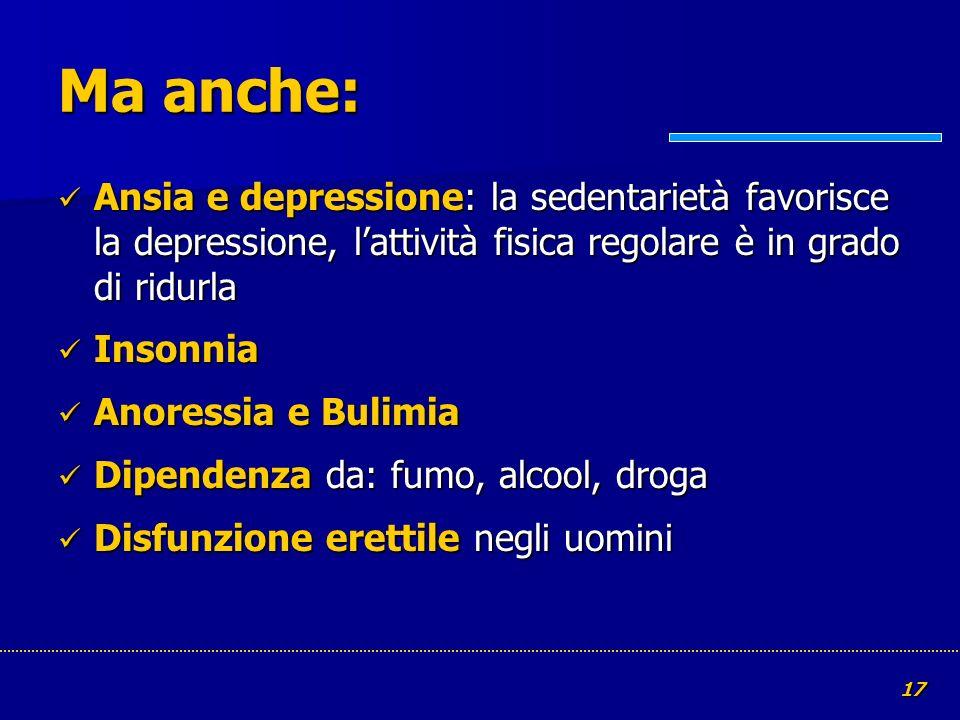 17 Ma anche: Ansia e depressione: la sedentarietà favorisce la depressione, lattività fisica regolare è in grado di ridurla Ansia e depressione: la se