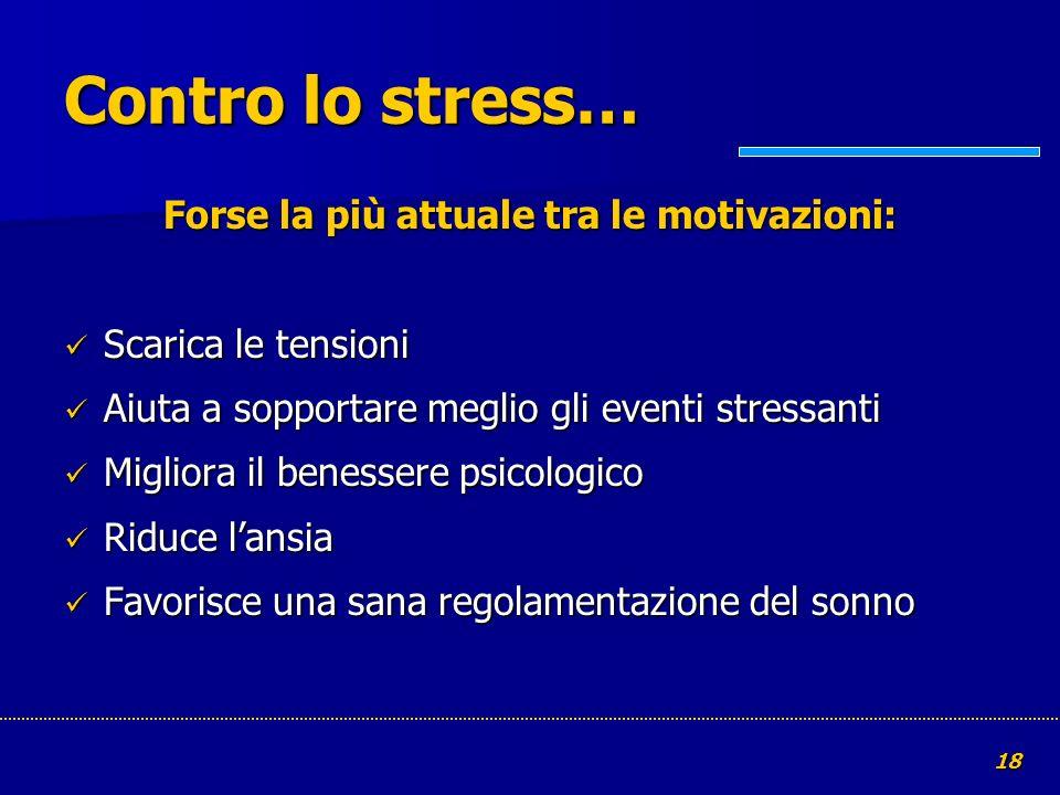 18 Contro lo stress… Forse la più attuale tra le motivazioni: Scarica le tensioni Scarica le tensioni Aiuta a sopportare meglio gli eventi stressanti