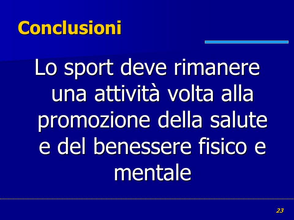23 Conclusioni Lo sport deve rimanere una attività volta alla promozione della salute e del benessere fisico e mentale