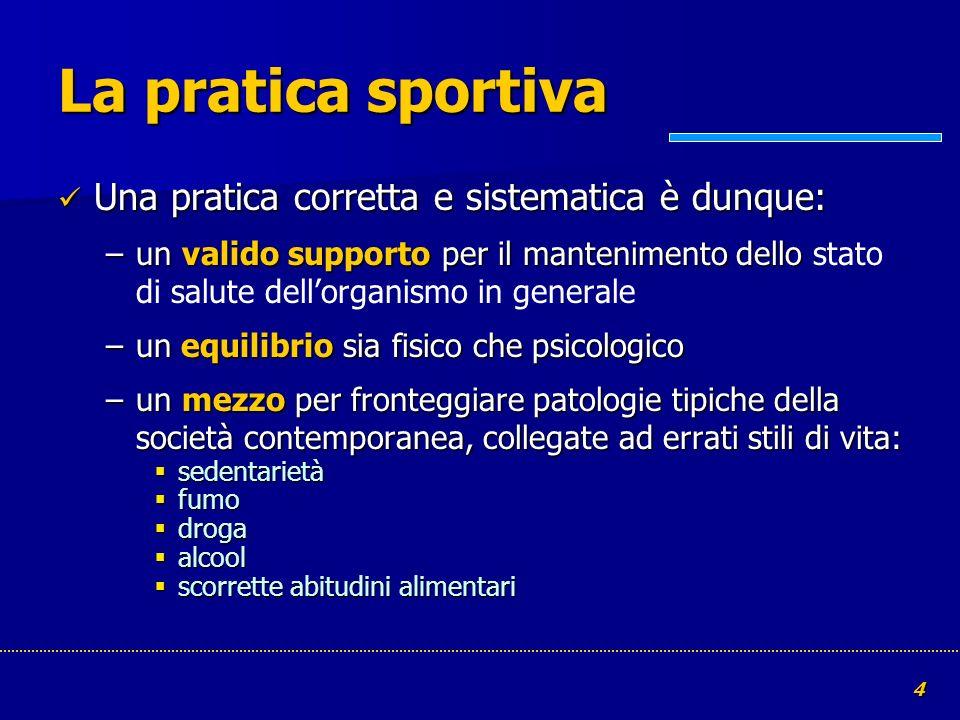 4 La pratica sportiva Una pratica corretta e sistematica è dunque: Una pratica corretta e sistematica è dunque: –un valido supporto per il manteniment