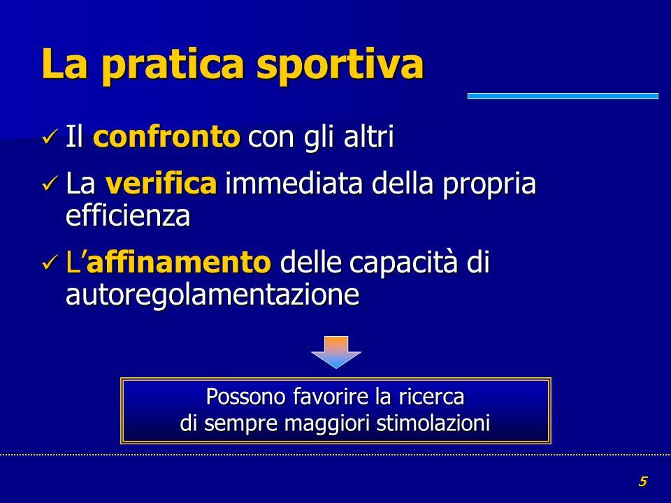 5 La pratica sportiva Il confronto con gli altri Il confronto con gli altri La verifica immediata della propria efficienza La verifica immediata della