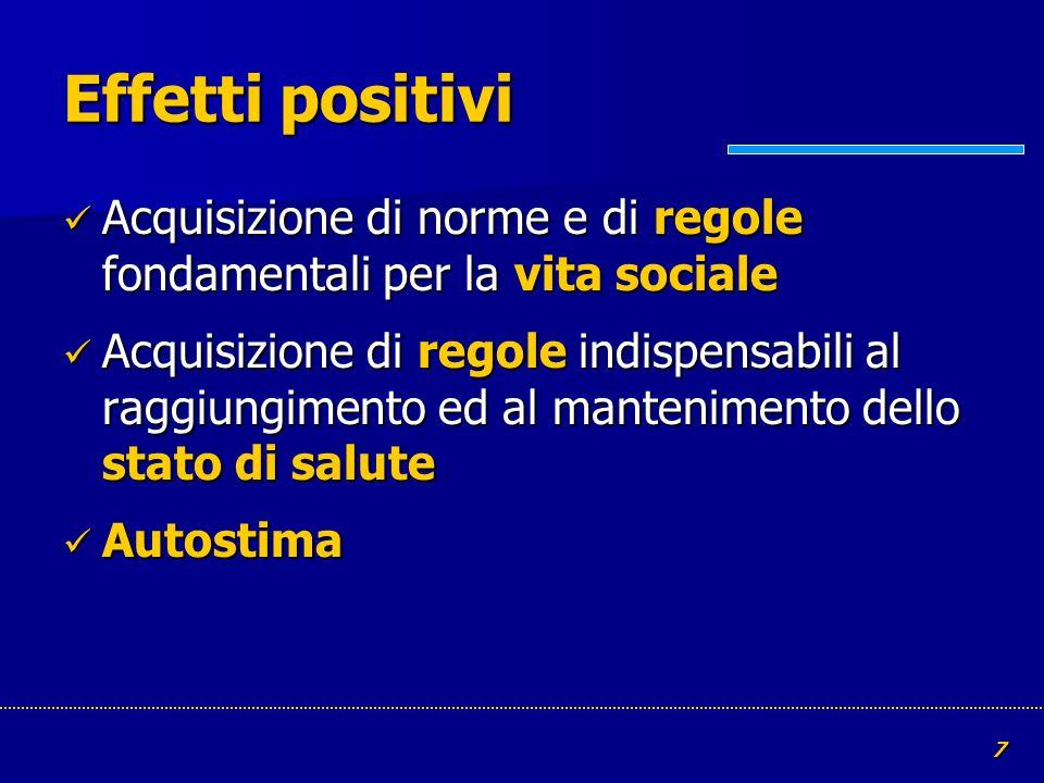 7 Effetti positivi Acquisizione di norme e di regole fondamentali per la vita sociale Acquisizione di norme e di regole fondamentali per la vita socia