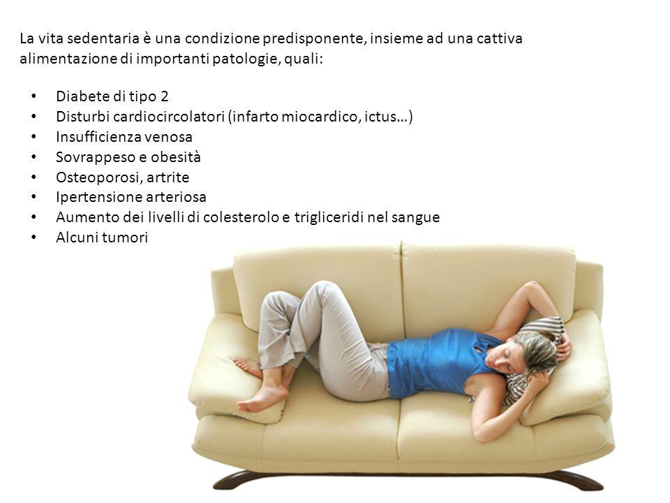 La vita sedentaria è una condizione predisponente, insieme ad una cattiva alimentazione di importanti patologie, quali: Diabete di tipo 2 Disturbi car