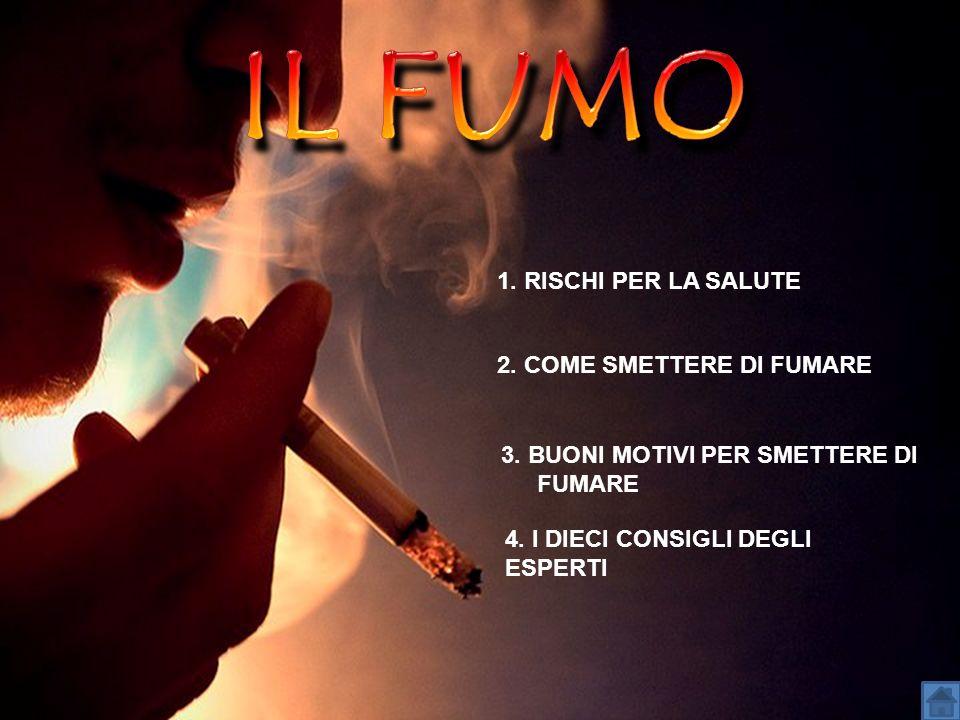 1. RISCHI PER LA SALUTE 3. BUONI MOTIVI PER SMETTERE DI FUMARE 4. I DIECI CONSIGLI DEGLI ESPERTI 2. COME SMETTERE DI FUMARE