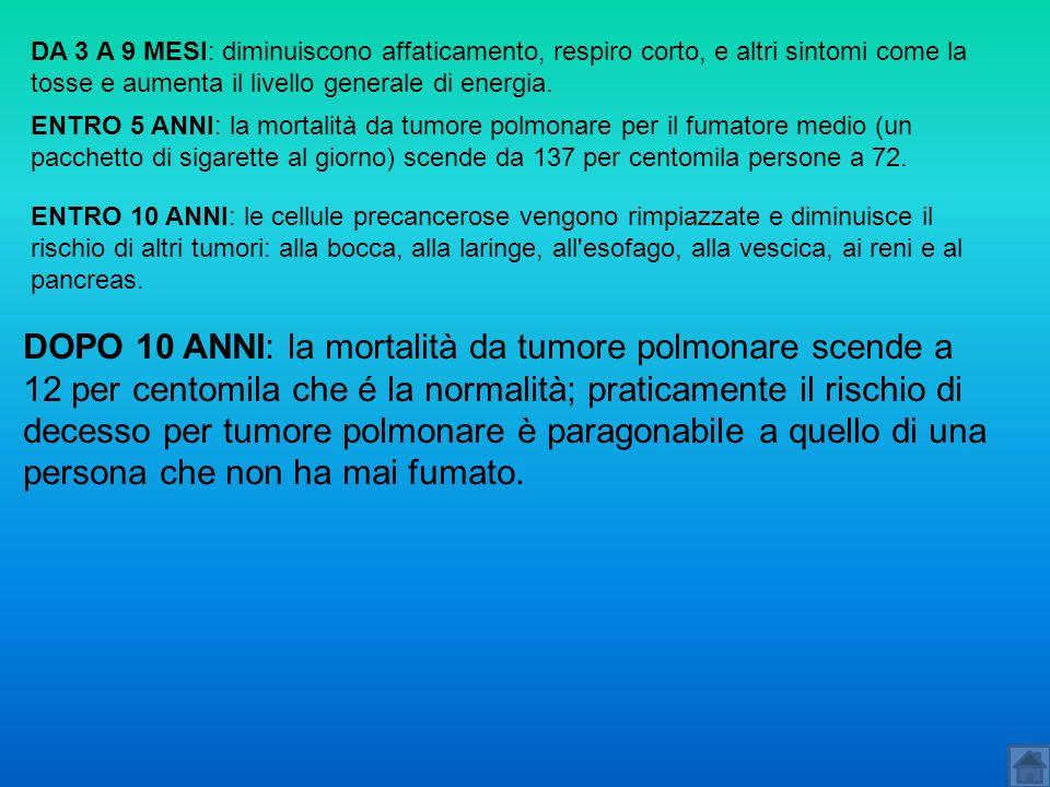 DA 3 A 9 MESI: diminuiscono affaticamento, respiro corto, e altri sintomi come la tosse e aumenta il livello generale di energia.