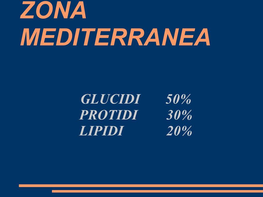 ZONA MEDITERRANEA GLUCIDI 50% PROTIDI 30% LIPIDI 20%
