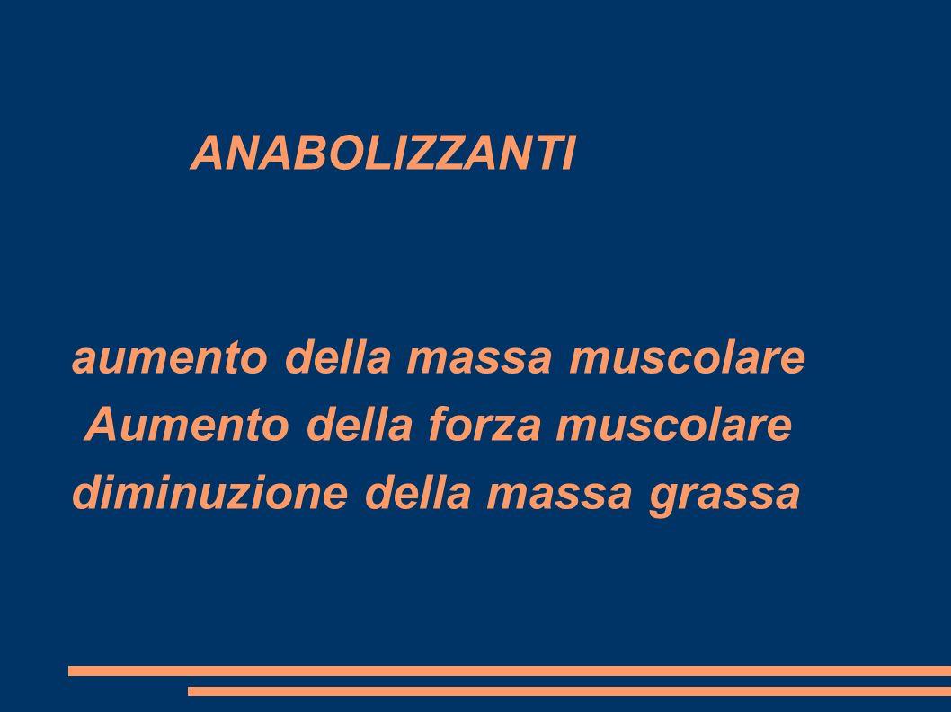 ANABOLIZZANTI aumento della massa muscolare Aumento della forza muscolare diminuzione della massa grassa