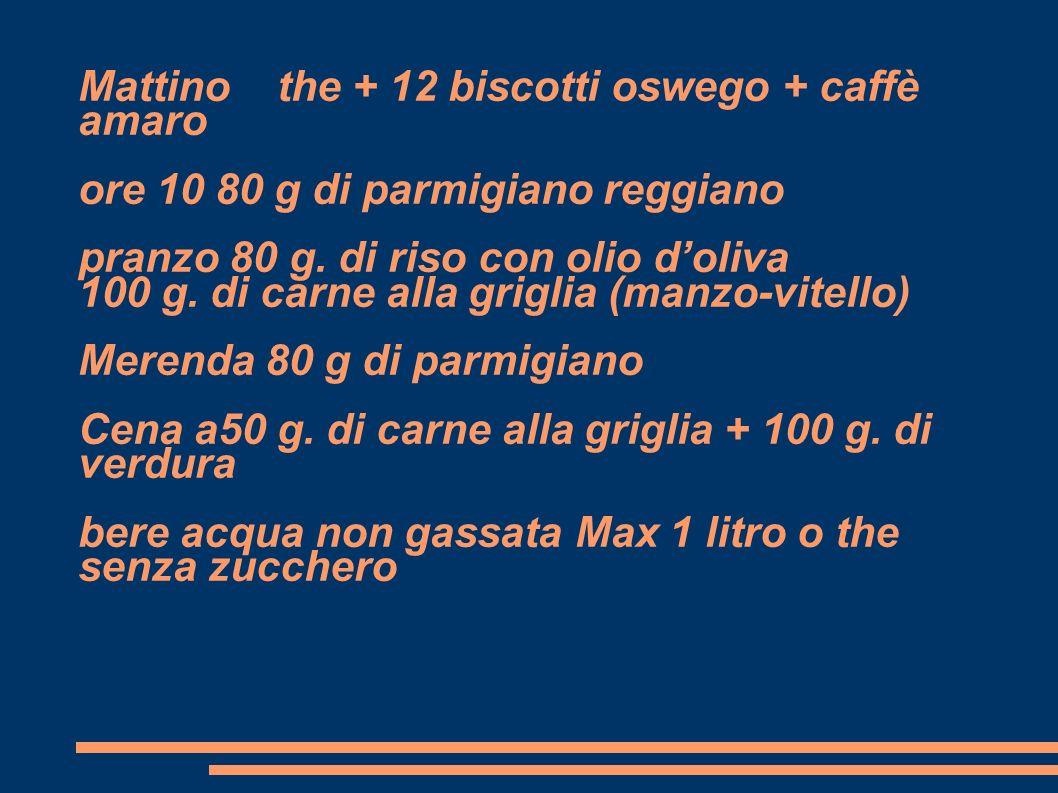 Mattino the + 12 biscotti oswego + caffè amaro ore 10 80 g di parmigiano reggiano pranzo 80 g. di riso con olio doliva 100 g. di carne alla griglia (m