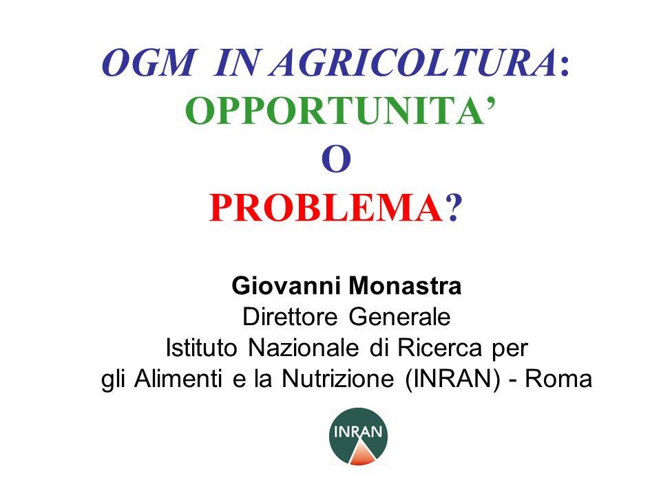 OGM IN AGRICOLTURA: OPPORTUNITA O PROBLEMA? Giovanni Monastra Direttore Generale Istituto Nazionale di Ricerca per gli Alimenti e la Nutrizione (INRAN