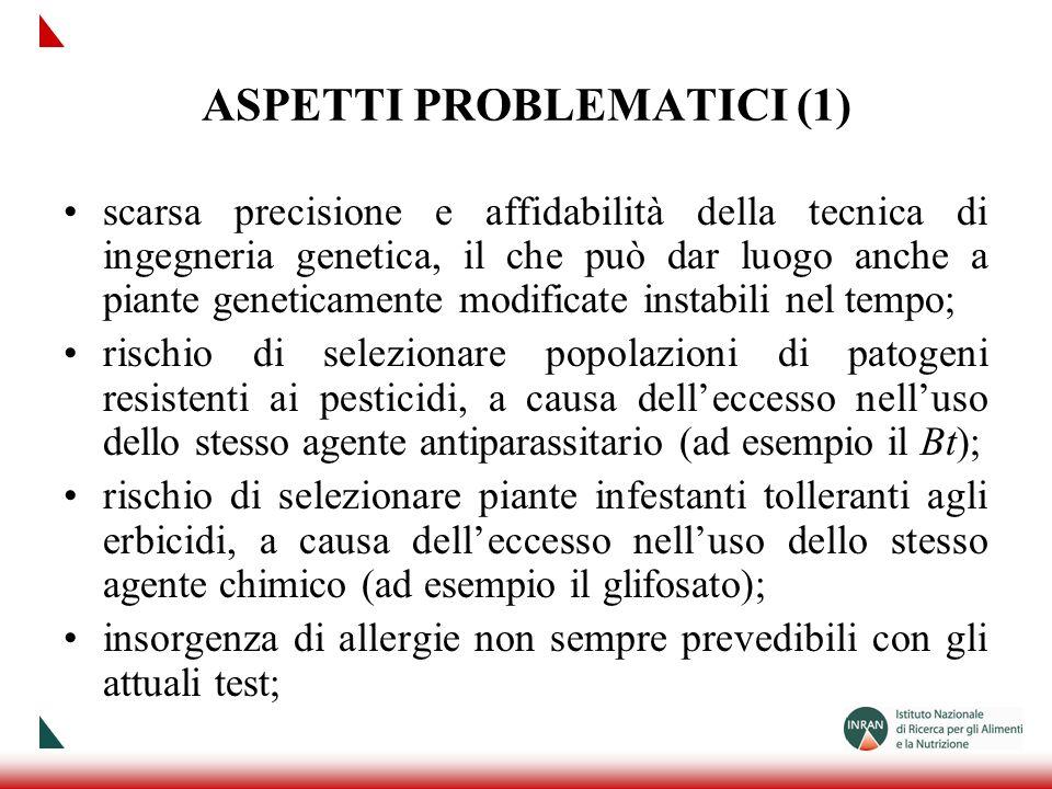 ASPETTI PROBLEMATICI (1) scarsa precisione e affidabilità della tecnica di ingegneria genetica, il che può dar luogo anche a piante geneticamente modi