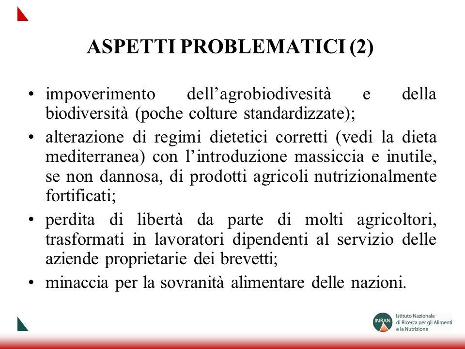 ASPETTI PROBLEMATICI (2) impoverimento dellagrobiodivesità e della biodiversità (poche colture standardizzate); alterazione di regimi dietetici corret