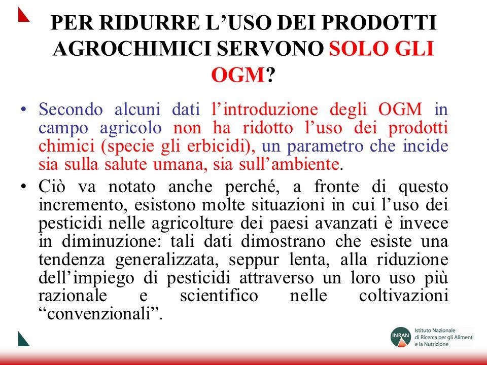 PER RIDURRE LUSO DEI PRODOTTI AGROCHIMICI SERVONO SOLO GLI OGM? Secondo alcuni dati lintroduzione degli OGM in campo agricolo non ha ridotto luso dei