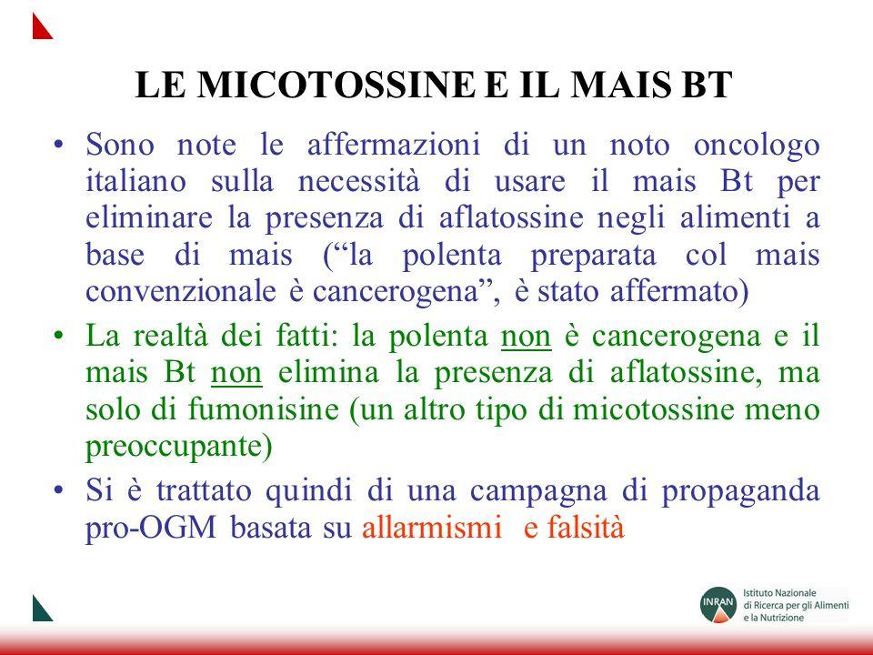 LE MICOTOSSINE E IL MAIS BT Sono note le affermazioni di un noto oncologo italiano sulla necessità di usare il mais Bt per eliminare la presenza di af