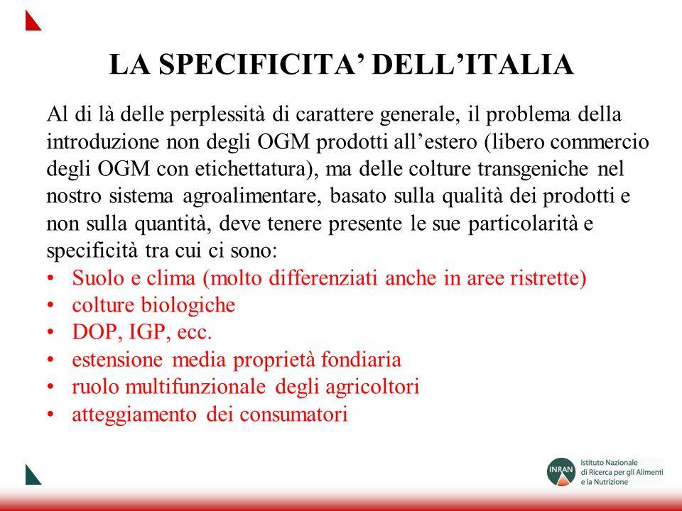 LA SPECIFICITA DELLITALIA Al di là delle perplessità di carattere generale, il problema della introduzione non degli OGM prodotti allestero (libero co