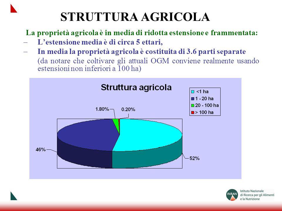 STRUTTURA AGRICOLA La proprietà agricola è in media di ridotta estensione e frammentata: –Lestensione media è di circa 5 ettari, –In media la propriet
