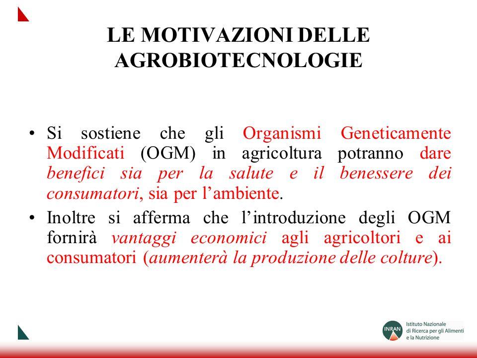 LE MOTIVAZIONI DELLE AGROBIOTECNOLOGIE Si sostiene che gli Organismi Geneticamente Modificati (OGM) in agricoltura potranno dare benefici sia per la s