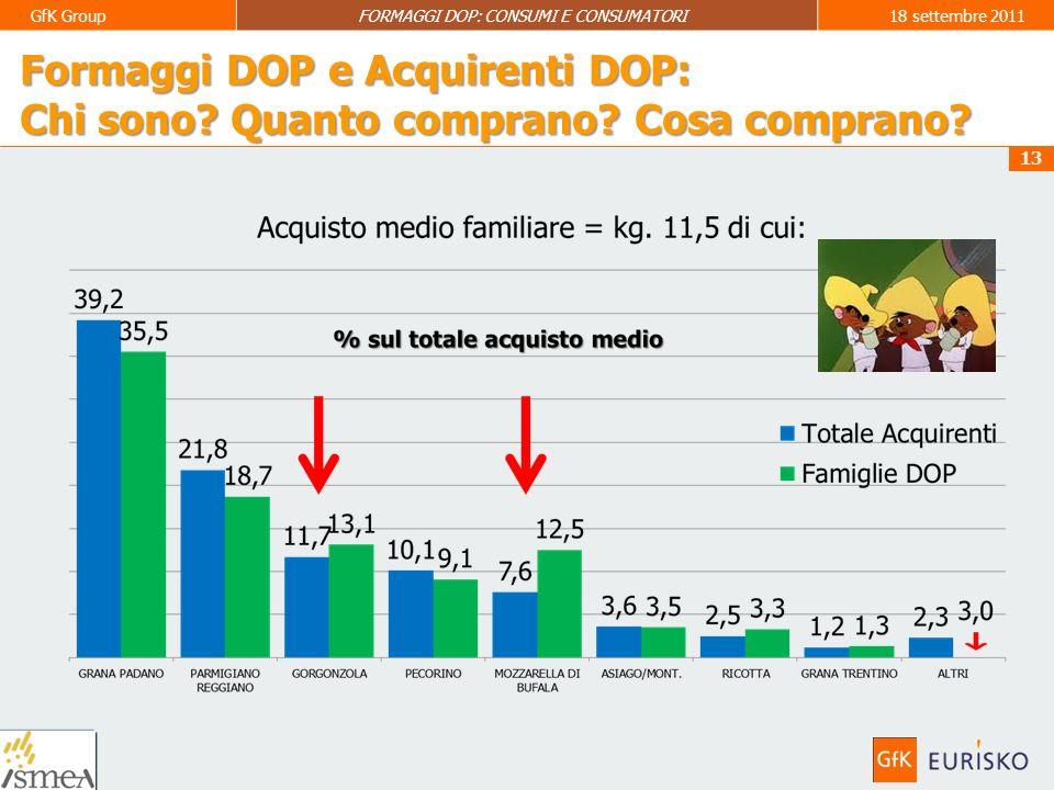 14 GfK GroupFORMAGGI DOP: CONSUMI E CONSUMATORI18 settembre 2011 Formaggi DOP e Acquirenti DOP: Chi sono.