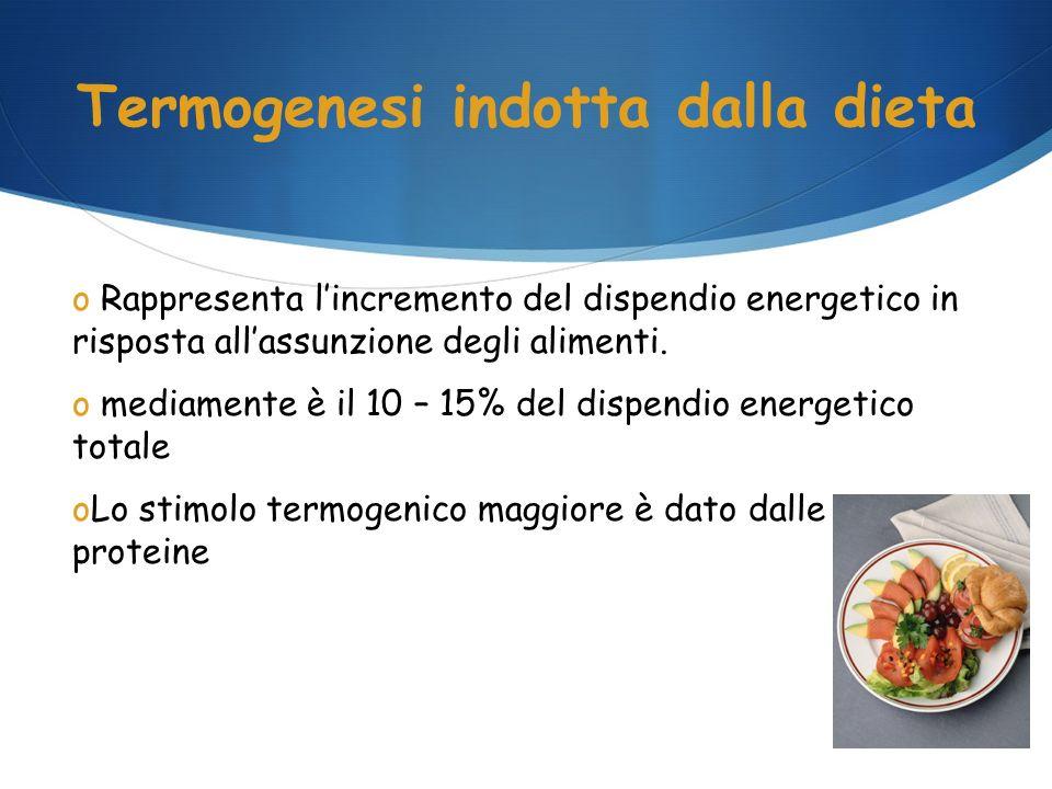 Termogenesi indotta dalla dieta o Rappresenta lincremento del dispendio energetico in risposta allassunzione degli alimenti. o mediamente è il 10 – 15