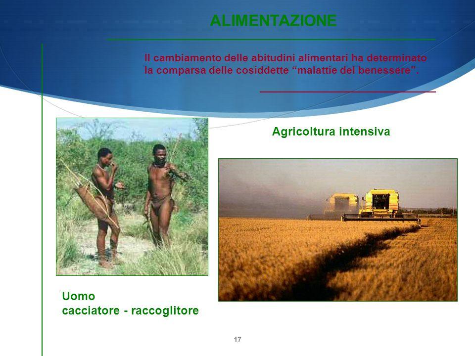 17 Agricoltura intensiva Uomo cacciatore - raccoglitore Il cambiamento delle abitudini alimentari ha determinato la comparsa delle cosiddette malattie