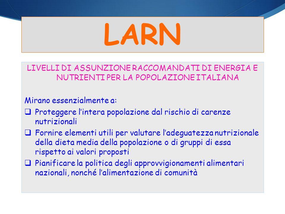 LARN LIVELLI DI ASSUNZIONE RACCOMANDATI DI ENERGIA E NUTRIENTI PER LA POPOLAZIONE ITALIANA Mirano essenzialmente a: Proteggere lintera popolazione dal