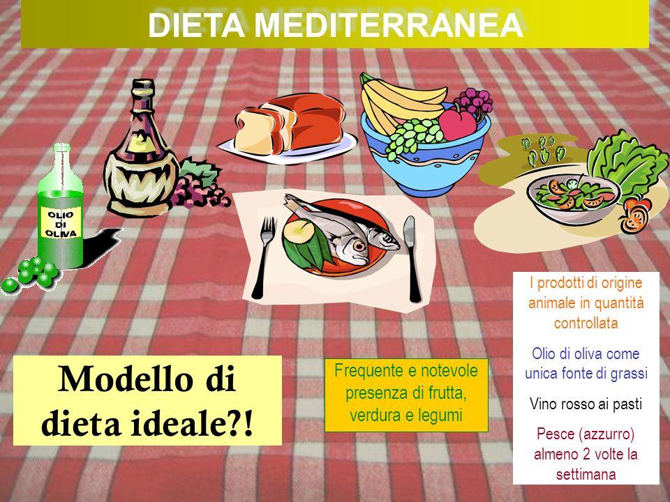 DIETA MEDITERRANEA Modello di dieta ideale?! Frequente e notevole presenza di frutta, verdura e legumi I prodotti di origine animale in quantità contr