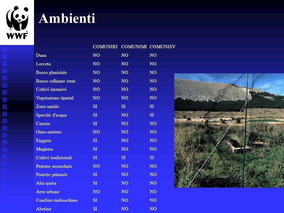 COMUNIRICOMUNIMICOMUNISV Duna NONONO Lecceta NONONO Bosco planiziale NONONO Bosco collinare termNONONO Coltivi intensivi NONONO Vegetazione riparialNO