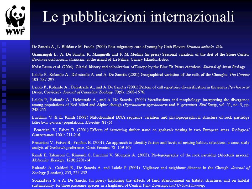 Le pubblicazioni internazionali De Sanctis A., L. Biddau e M. Fasola (2005) Post-migratory care of young by Crab Plovers Dromas ardeola. Ibis. Giannan