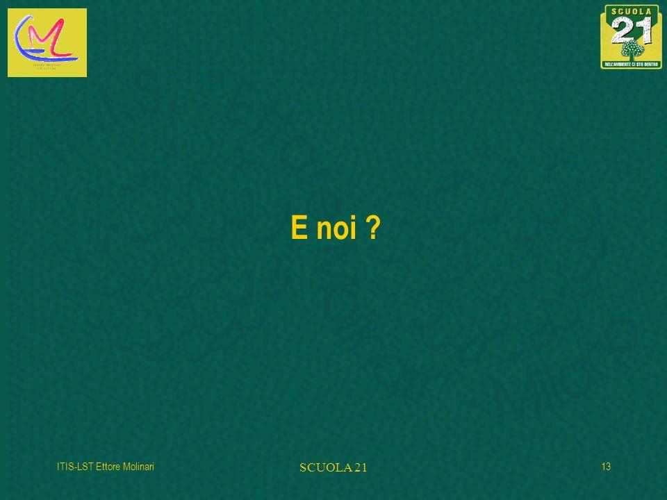 E noi ? ITIS-LST Ettore Molinari SCUOLA 21 13