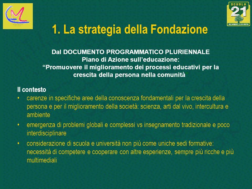 1. La strategia della Fondazione Il contesto carenze in specifiche aree della conoscenza fondamentali per la crescita della persona e per il miglioram