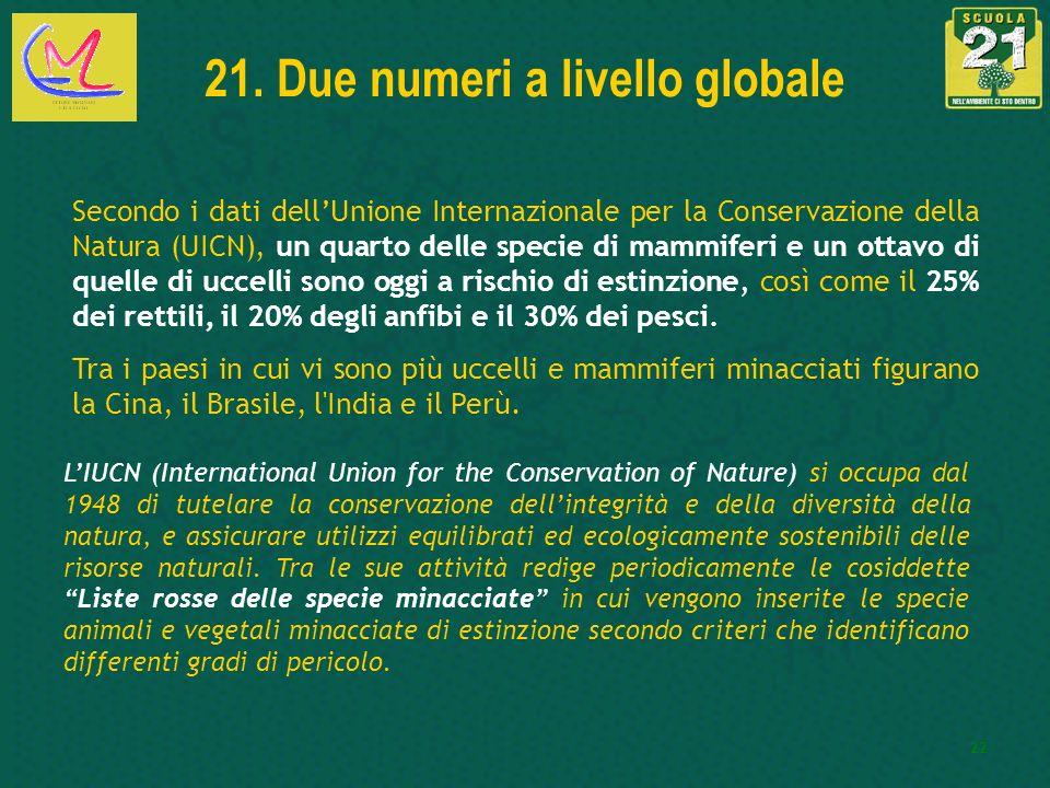 22 21. Due numeri a livello globale Secondo i dati dellUnione Internazionale per la Conservazione della Natura (UICN), un quarto delle specie di mammi