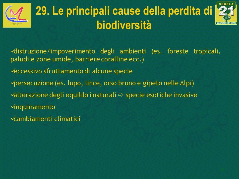 31 29. Le principali cause della perdita di biodiversità distruzione/impoverimento degli ambienti (es. foreste tropicali, paludi e zone umide, barrier