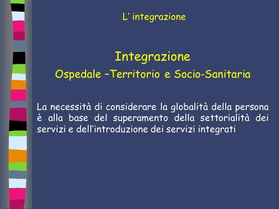 L integrazione Integrazione Ospedale –Territorio e Socio-Sanitaria La necessità di considerare la globalità della persona è alla base del superamento