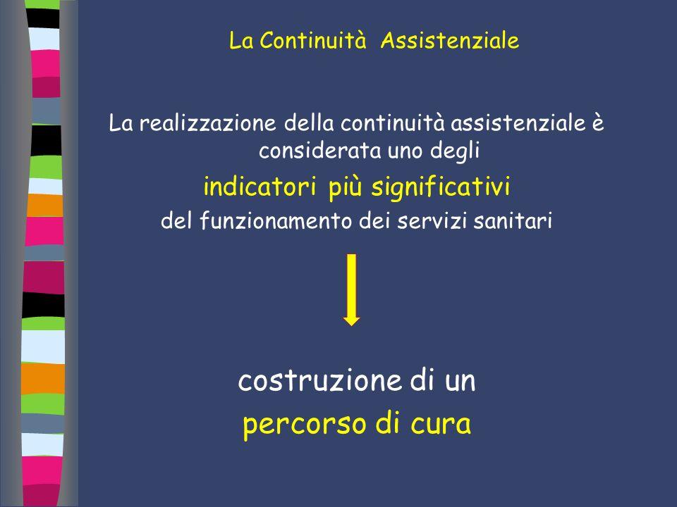 La Continuità Assistenziale La realizzazione della continuità assistenziale è considerata uno degli indicatori più significativi del funzionamento dei