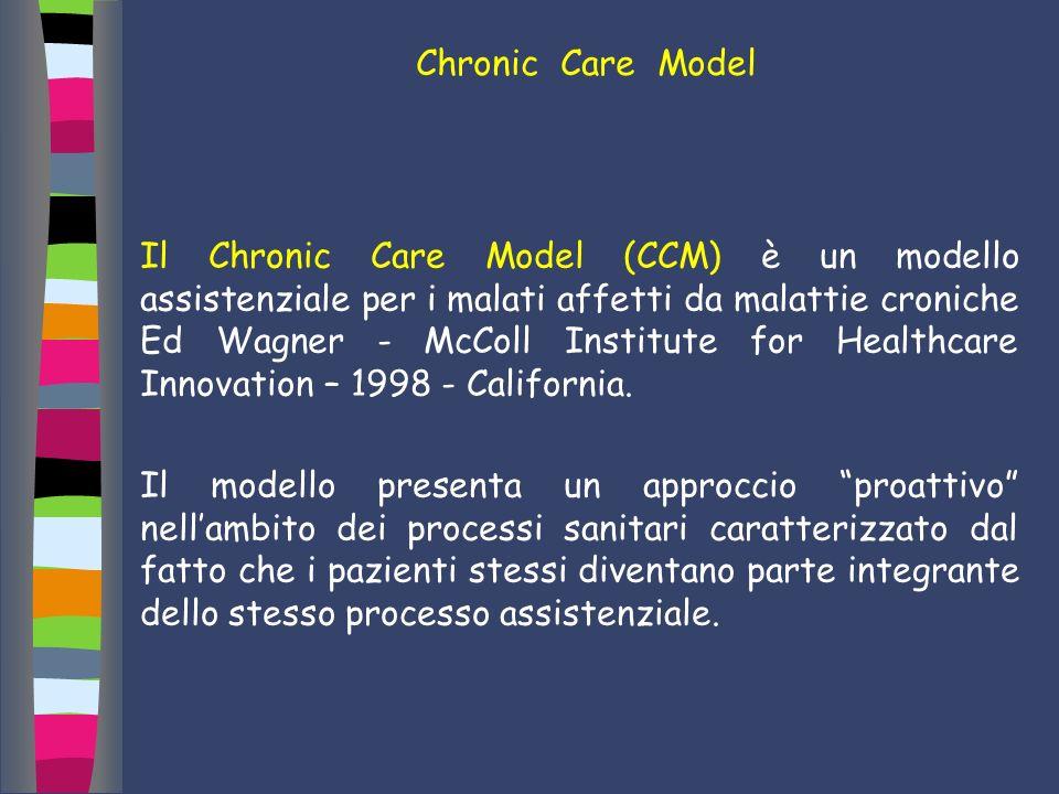 Chronic Care Model Il Chronic Care Model (CCM) è un modello assistenziale per i malati affetti da malattie croniche Ed Wagner - McColl Institute for H