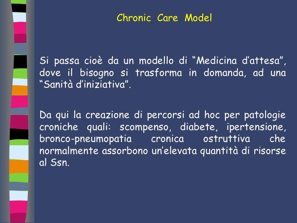 Chronic Care Model Si passa cioè da un modello di Medicina dattesa, dove il bisogno si trasforma in domanda, ad una Sanità diniziativa. Da qui la crea
