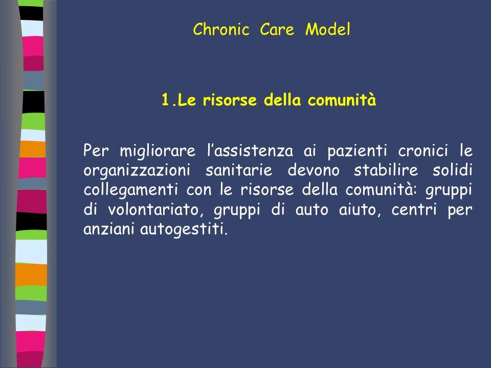 Chronic Care Model 1.Le risorse della comunità Per migliorare lassistenza ai pazienti cronici le organizzazioni sanitarie devono stabilire solidi coll