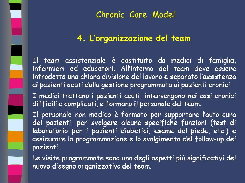 4. Lorganizzazione del team Il team assistenziale è costituito da medici di famiglia, infermieri ed educatori. Allinterno del team deve essere introdo