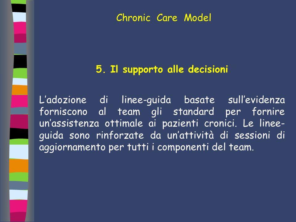 5. Il supporto alle decisioni Ladozione di linee-guida basate sullevidenza forniscono al team gli standard per fornire unassistenza ottimale ai pazien