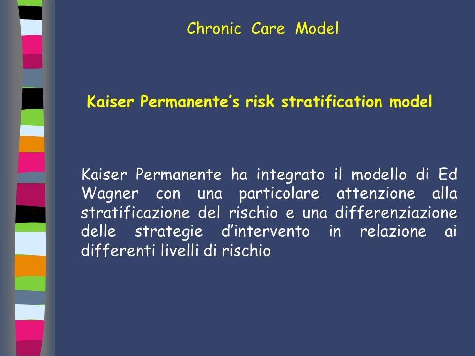 Kaiser Permanentes risk stratification model Kaiser Permanente ha integrato il modello di Ed Wagner con una particolare attenzione alla stratificazion
