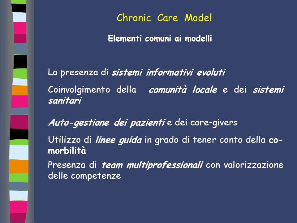 Chronic Care Model Elementi comuni ai modelli La presenza di sistemi informativi evoluti Coinvolgimento della comunità locale e dei sistemi sanitari A
