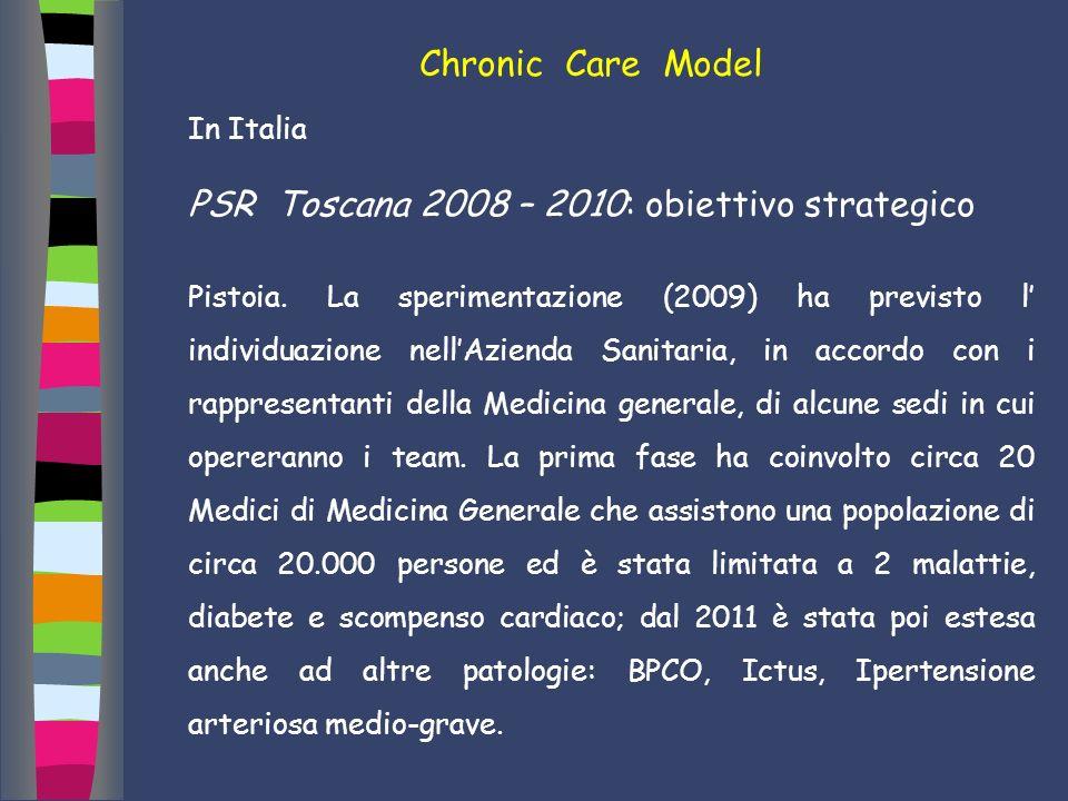 Chronic Care Model In Italia PSR Toscana 2008 – 2010: obiettivo strategico Pistoia. La sperimentazione (2009) ha previsto l individuazione nellAzienda