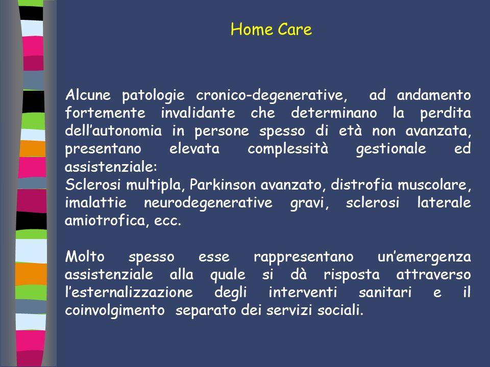 Home Care Alcune patologie cronico-degenerative, ad andamento fortemente invalidante che determinano la perdita dellautonomia in persone spesso di età
